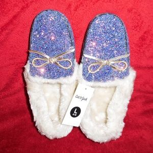 Cat & Jack Glitter Shoe/Slippers with Fur